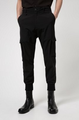 Slim-fit cargobroek van stretchtwill, Zwart