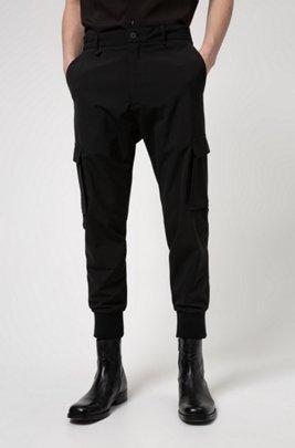Slim-fit cargo trousers in stretch twill, Black