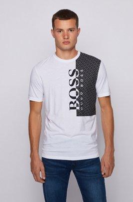 T-shirt à logo imprimé en jersey de coton mélangé éco-responsable, Blanc