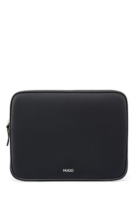 Laptop sleeve in neoprene with faux-leather trims, Black