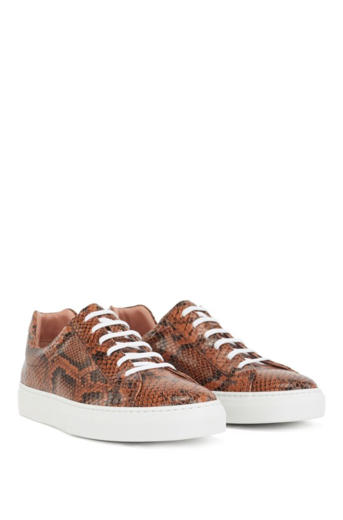Low-top cupsole trainers in python-print Italian leather