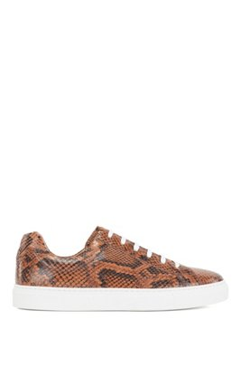 Low-top cupsole trainers in python-print Italian leather, Brown