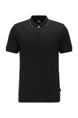 Zip-neck slim-fit polo shirt in mercerised cotton, Black