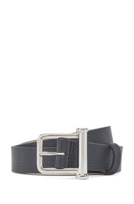 Italian-made grainy-leather belt with new-season buckle, Dark Blue