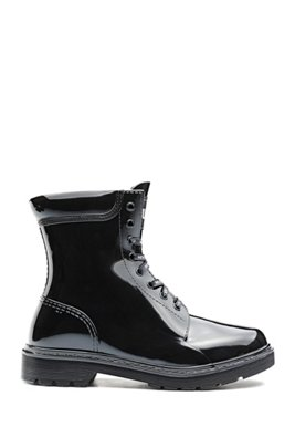 Lace-up boots in glossy PVC with logo details, Black
