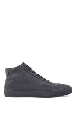 Hightop Sneakers aus Leder-Mix, Schwarz