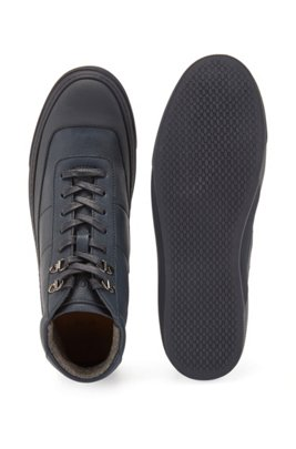 High-top trainers in mixed leathers, Dark Blue