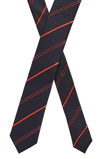 斜条纹提花真丝领带,  801_暗橙色