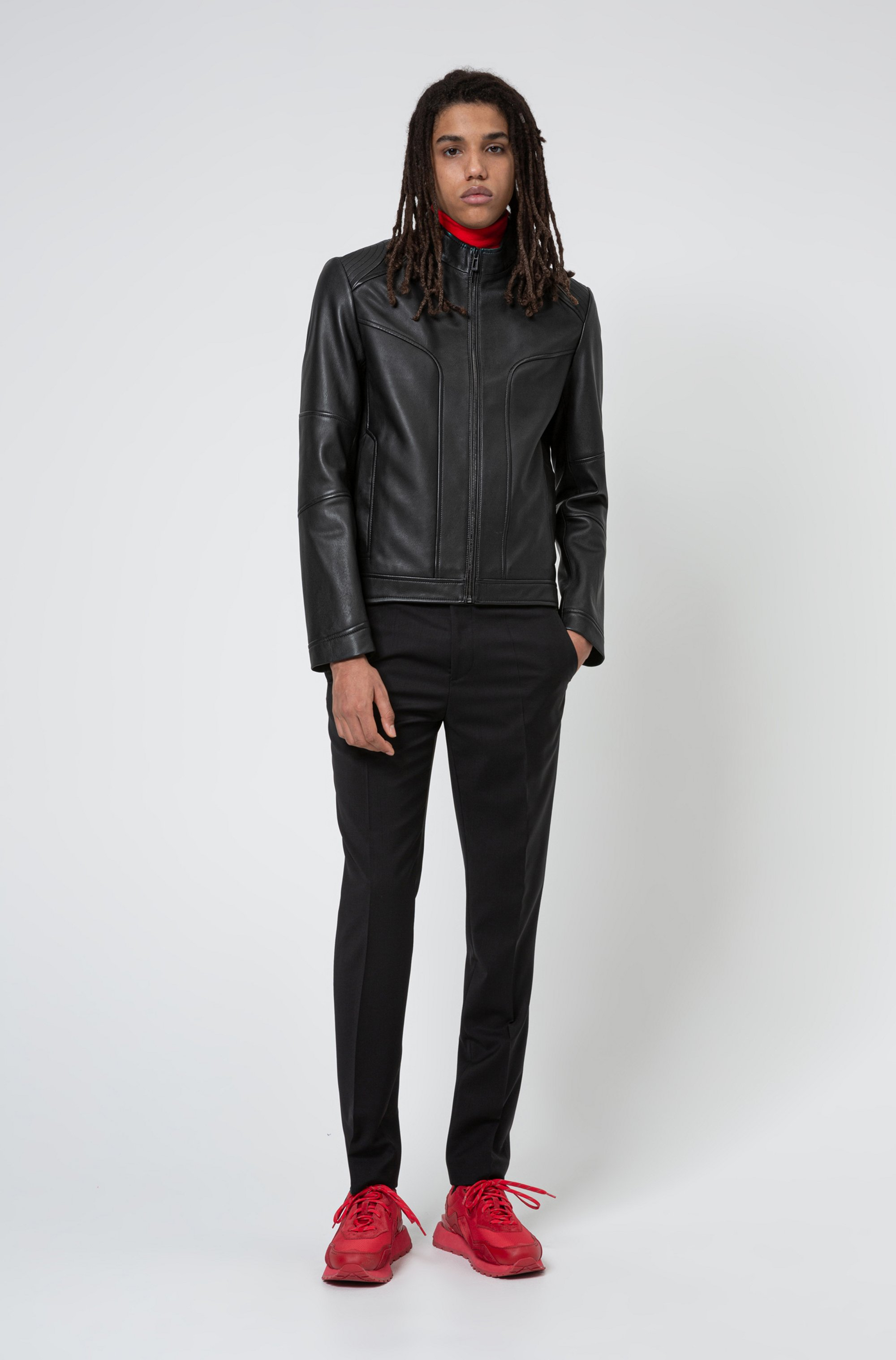 Extra-slim-fit biker jacket in nappa lambskin