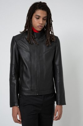 Extra-slim-fit biker jacket in nappa lambskin, Black