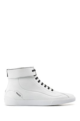 Lace-up trainers in grained leather with zipped heel, White