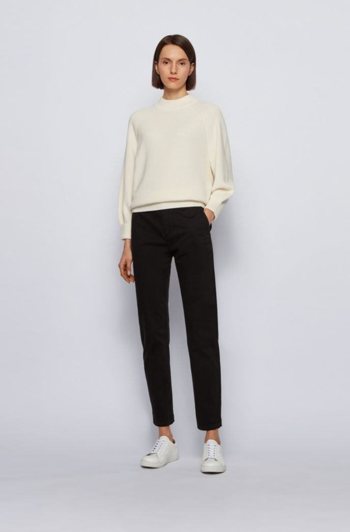 Regular-fit cropped trousers in stretch-cotton twill