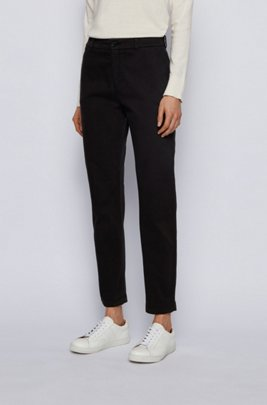 Regular-fit cropped trousers in stretch-cotton twill, Black