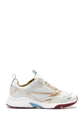 Mixed-material trainers with heel logo, White