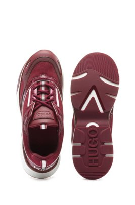 Mixed-material trainers with heel logo, Red