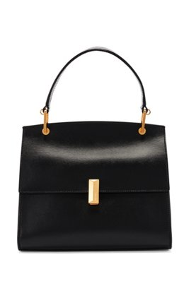 Italian-leather handbag with signature hardware, Black