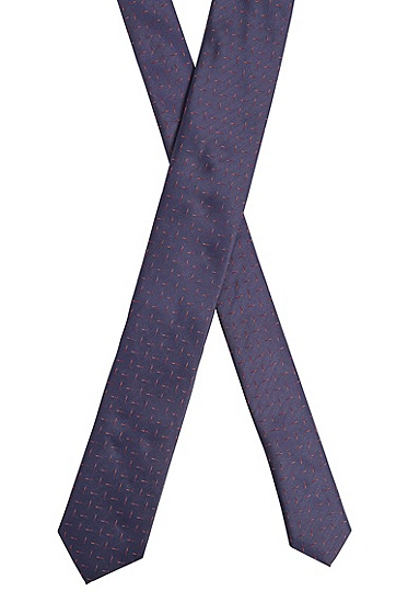 意大利制造微图案纯真丝领带,  402_暗蓝色