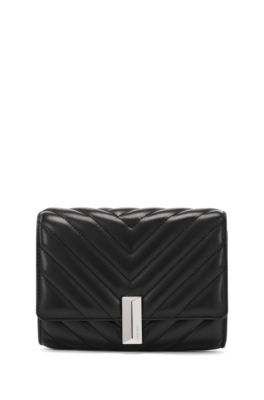 Quilted-leather belt bag with detachable chain strap, Black
