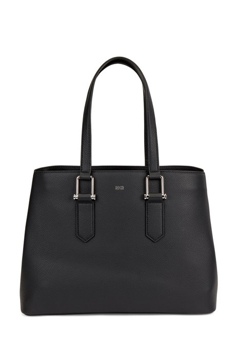 Grained-leather tote bag with signature hardware, Black