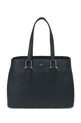 Grained-leather tote bag with signature hardware, Dark Blue