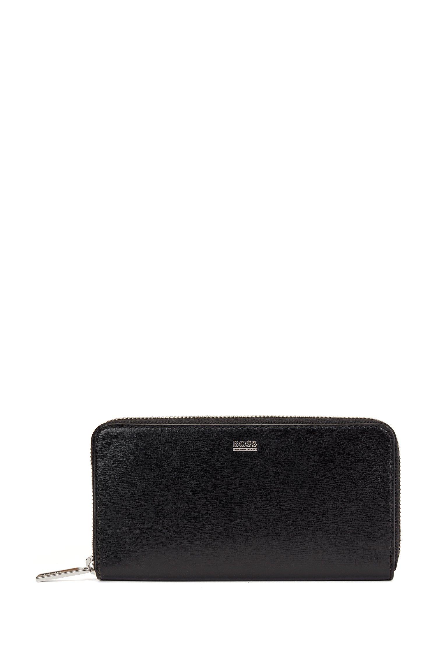 Portefeuille zippé en cuir structuré avec logo poli, Noir