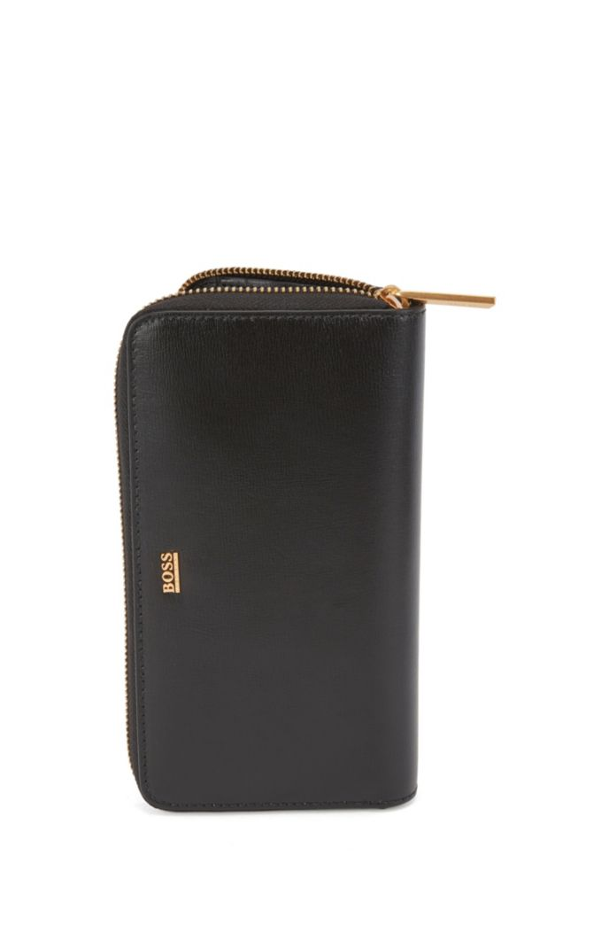 Ziparound wallet in structured leather