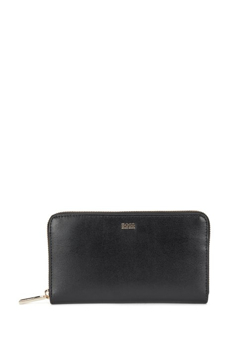 Structured-leather ziparound wallet with polished logo, Black