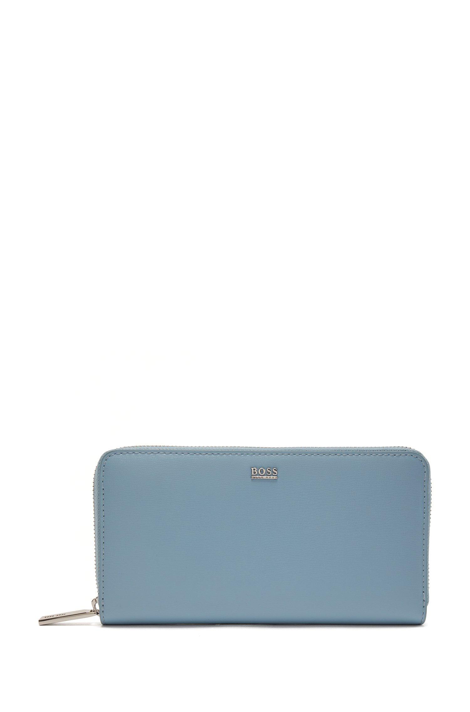 Portefeuille zippé en cuir structuré avec logo poli, bleu clair