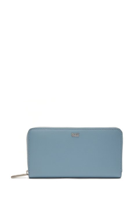 Structured-leather ziparound wallet with polished logo, Light Blue