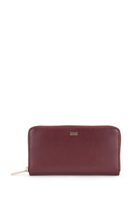 Structured-leather ziparound wallet with polished logo, Dark Red