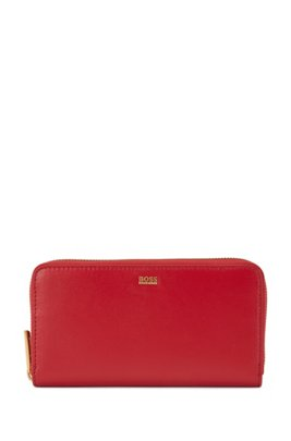 Ziparound wallet in structured leather, Red