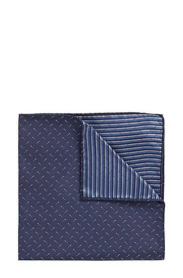 丝绸提花面料微图案方巾,  403_暗蓝色