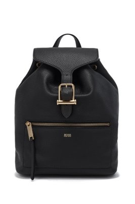 Drawstring backpack in grained leather with signature hardware, Black