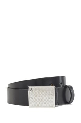Italian-leather belt with monogram-embossed plaque buckle, Black