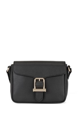 Cross-body bag in grained leather with buckle detail, Black