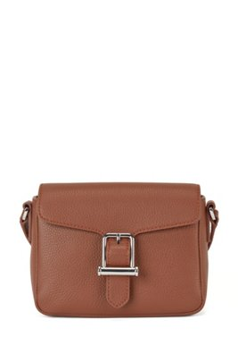 Cross-body bag in grained leather with buckle detail, Light Brown