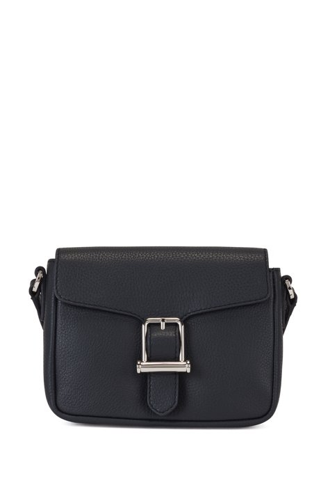 Cross-body bag in grained leather with buckle detail, Dark Blue