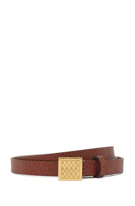 Lizard-print belt in Italian leather with cube buckle, Brown