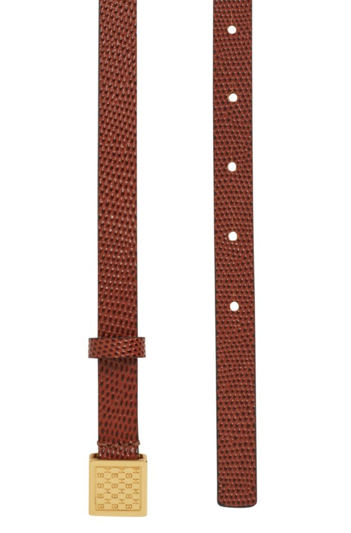 Lizard-print belt in Italian leather with cube buckle