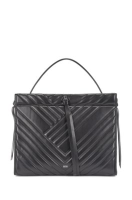Small tote bag in quilted leather with lace detailing, Black