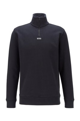 Relaxed-fit zip-neck sweatshirt in French terry, Black