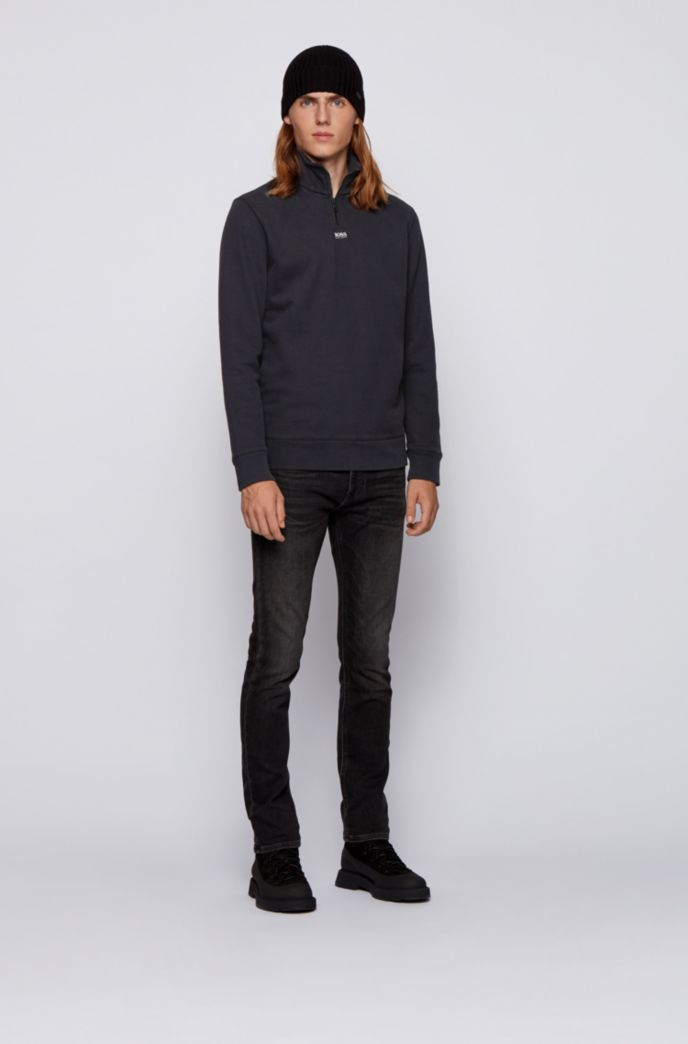 Relaxed-fit zip-neck sweatshirt in French terry