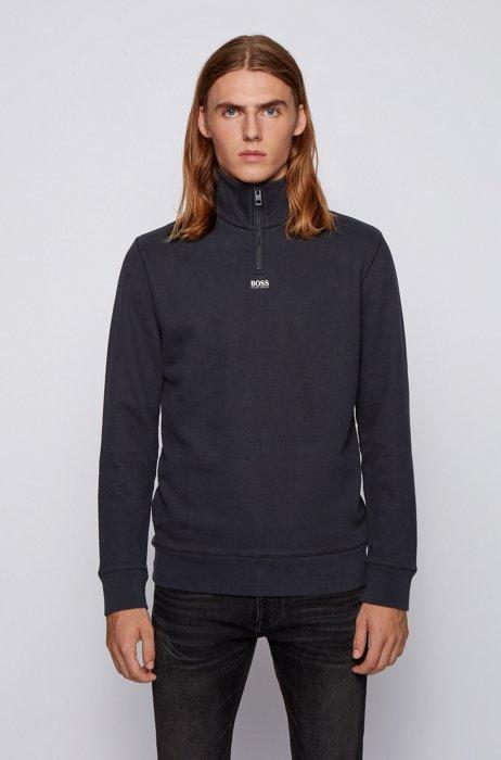 Relaxed-Fit Sweatshirt aus French Terry mit Troyerkragen, Schwarz