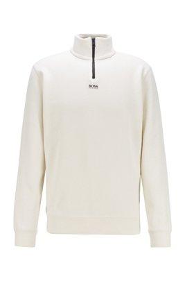 リラックスフィット ジップネック スウェットシャツ フレンチテリー, ホワイト