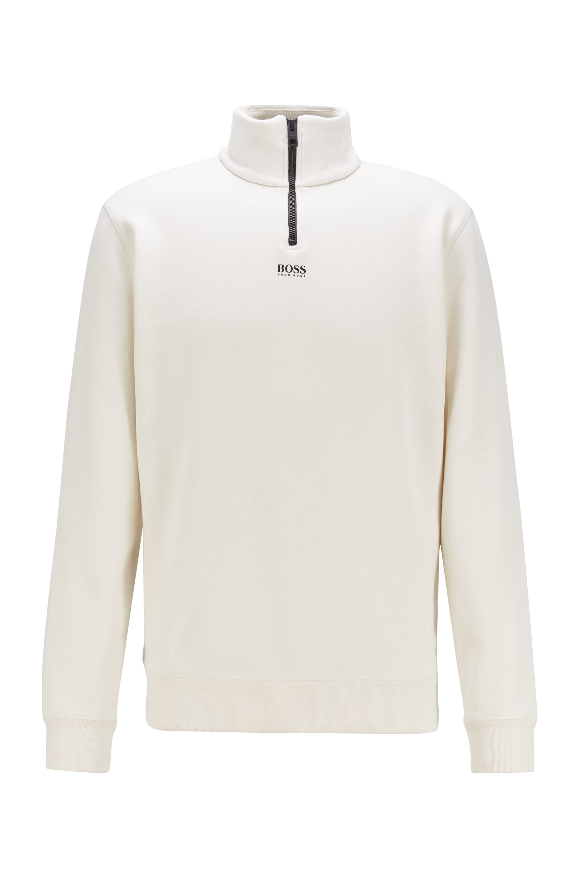 Relaxed-Fit Sweatshirt aus French Terry mit Troyerkragen, Weiß