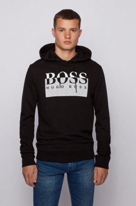 Logo-print hooded sweatshirt in responsibly sourced French terry, Black