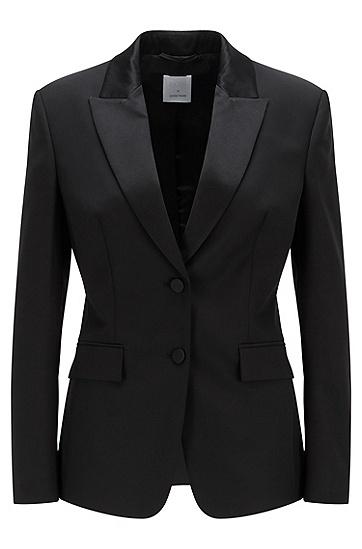真丝饰边常规版型礼服夹克,  001_黑色