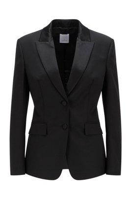 Regular-fit tuxedo jacket with silk trims, Black