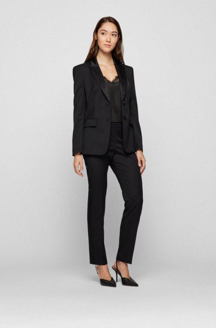 Regular-fit tuxedo jacket with silk trims