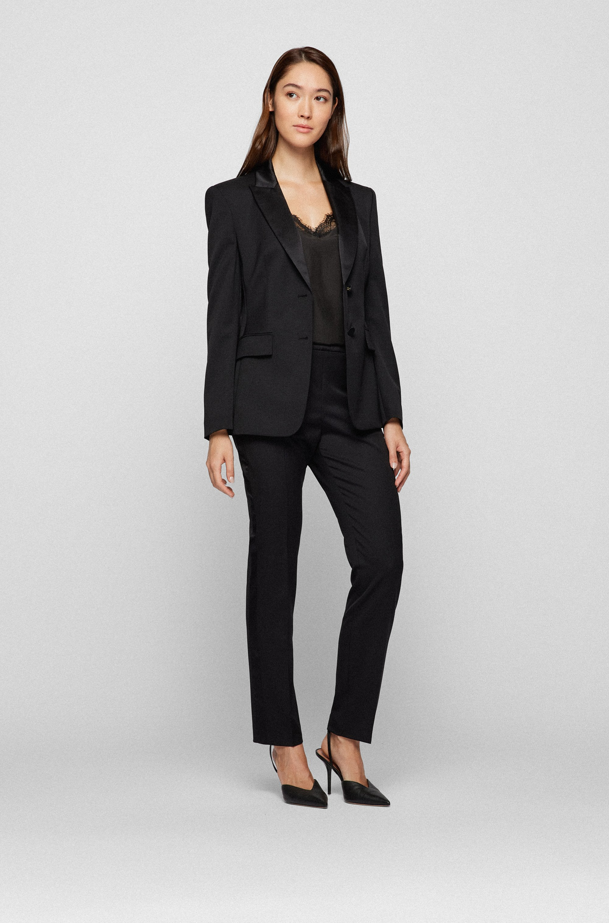 Regular-fit tuxedo jacket with silk trims